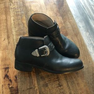 ARIAT Black Leather 7B Belt Monk Strap Ankle Boots